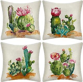 LYTFQ Cushion Cover Decorativas Fundas Cojines 4 Piezas Cactus Suculento Pillow Case para Sofá Dormitorio Salón Oficina Cama O Coche 45X45Cm (Sin Núcleo De Almohada)
