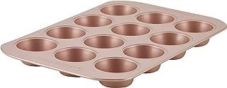 Farberware 47776 Nonstick Bakeware, Nonstick Muffin Pan / Cupcake Pan - 12 Cup, Rose Gold Red