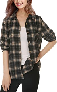 Womens Button Down Plaid Shirt Casual Long Sleeve Boyfriend Shirt for Women Plaid Tops with Front Pocke