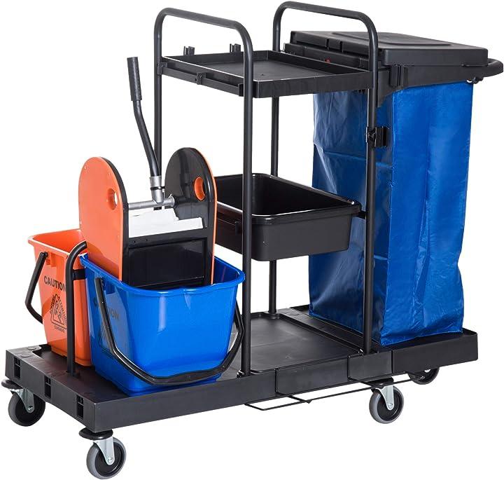 Carrello delle pulizie professionale multiuso con 2 secchi ruote borsa di tela 111 × 63.3 × 103cm homcom IT720-0080631