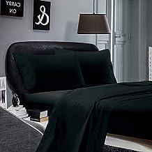 1000TC Ultra SOFT Sheet Set (Flat sheet & Fitted sheet & 2 Pillowcases) (Queen Size Bed, Black)