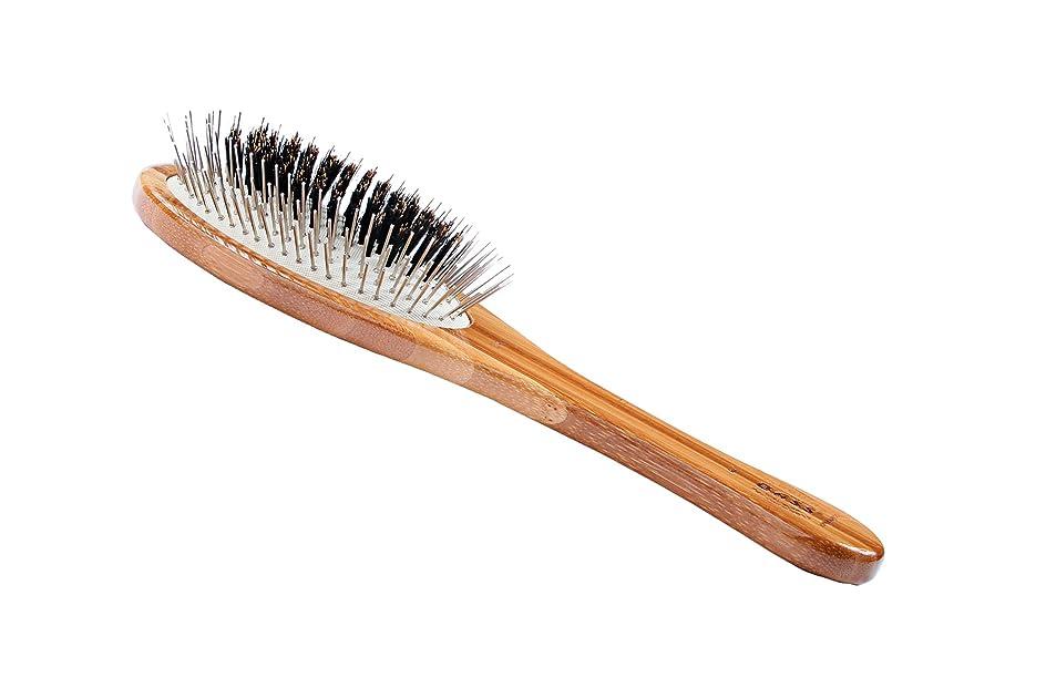 わずらわしい退屈な目の前のBass Brushes Medium Oval Wire and Boar Pet Brush with Bamboo Wood Handle by Bass Brushes