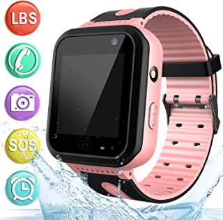 Kids Smart Watch Phone Waterproof Phone for Student - Boys Girls Smartwatch with 2 Ways Call LBS Tracker Voice Chat SOS Camera Alarm Clock Game Watch, kids' Teen's Gift Wrist Watch Suitable for 3-12