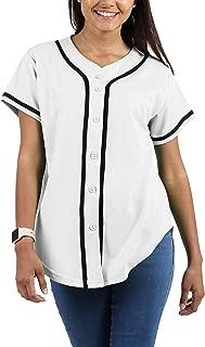 Womens Made in USA Premium Baseball Button Down Jersey Short Sleeve Tee Active Softball Shirt
