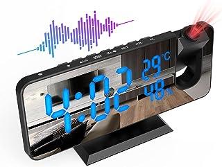 ShinePick Reveil Projecteur Plafond, FM Radio Reveil Projection 180°, Horloge Digitale Numérique avec 7' LED Écran Miroir,...