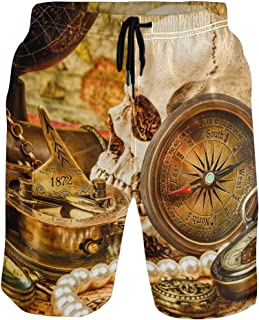 JERECY Mens Swim Trunks Boho Feather Pattern Quick Dry Board Shorts with Drawstring and Pockets