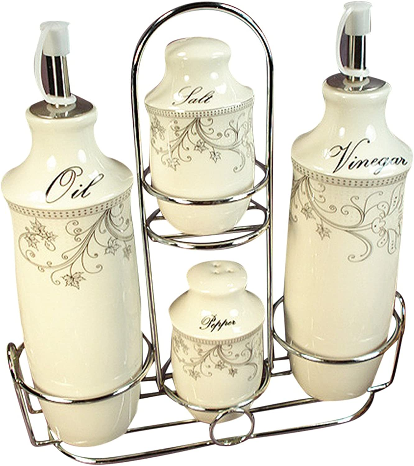 D'Lusso Designs CS35 Damask Set 4 Pc Oil Salt Pepper with Metal Caddy