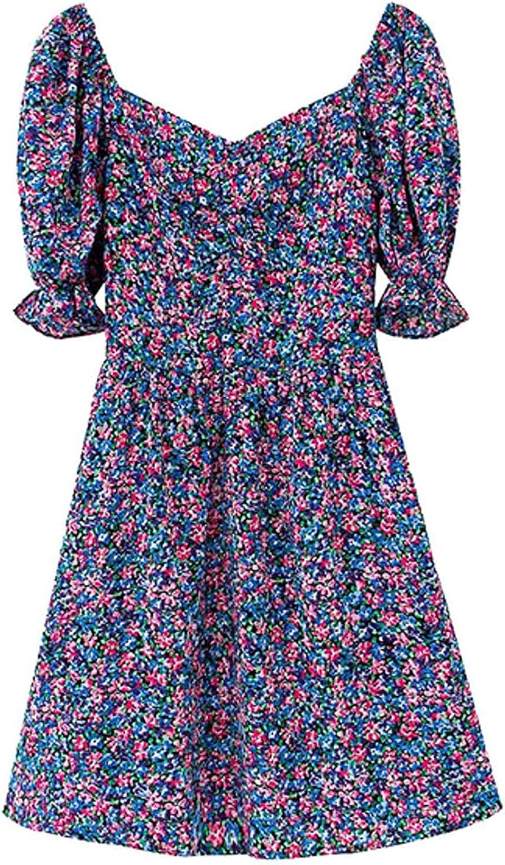 Women 2021 Chic Fashion Floral Excellent Print Boston Mall V Mini Dress P Neck Vintage