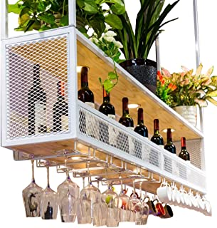 Wine Shelf with Glass Holder (with Spotlights) | Metal Ceiling Mounted Hanging Wine Holder | Wooden Wine Bottle Holder | S...