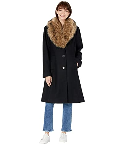 Kate Spade New York Fit-and-Flare Wool Coat w/ Faux Fur Collar (Black) Women