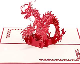 Paper Spiritz Chinese Dragon Pop up Cards Birthday, Anniversary Thank You Card for Husband Wife, Handmade Graduation Sympathy Blank Card, Laser Cut Gift Card with Envelopes all Occasions