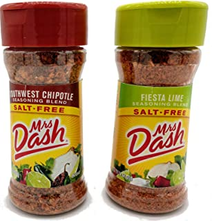 Mrs. Dash Salt Free Seasoning Fiesta Lime 2.4 Ounce and Southwest Chipotle 2.5 Ounce Bundle (1 of each)