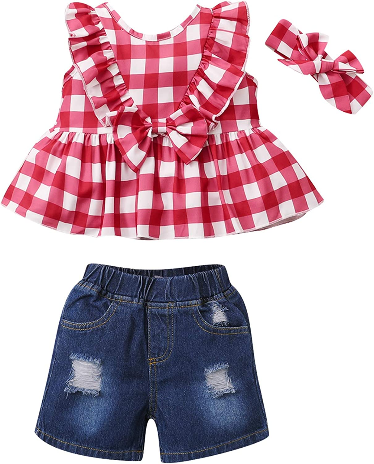 CARETOO 3Pcs Baby Girls Clothes 12M-4T Outfits Set, Girl Short Sleeve Top Short Pants with Headband