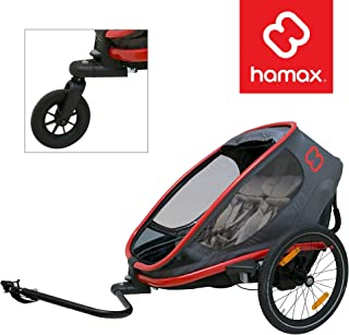 Hamax Outback Multi-Sport Child Bike Trailer + Stroller (Jogger Wheel Sold Separately) (Two Seats, Charcoal/Red)