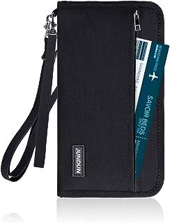 パスポートケース JUNDUN スキミング防止 パスポートケース 首下げ チェーン付き パスポートバッグ 男女兼用 海外旅行 出張 便利