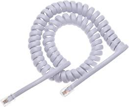 RJ10 Telephone Phone Cord Lead Curly Cable Spring Coiled Spiral Handset Wire 6 Feet Compatible with Landline/IP Phones BT, AT&T, Cisco, NEC, ROLM, ITT, TI (White)