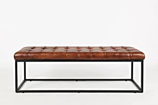Jofran Leather Ottoman Bench in Saddle Finish