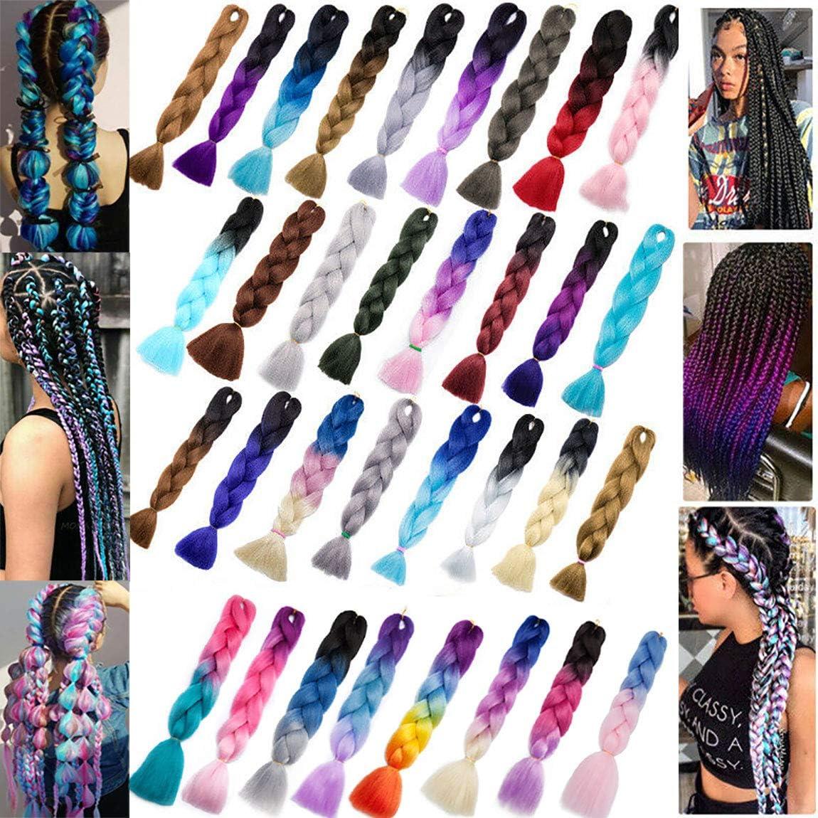 Ombre Braids Hair Jumbo Braiding Hair Synthetic Hair Extensions for Braiding Crochet Twist Box Braids 24Inch 1 Packs Ash Blonde