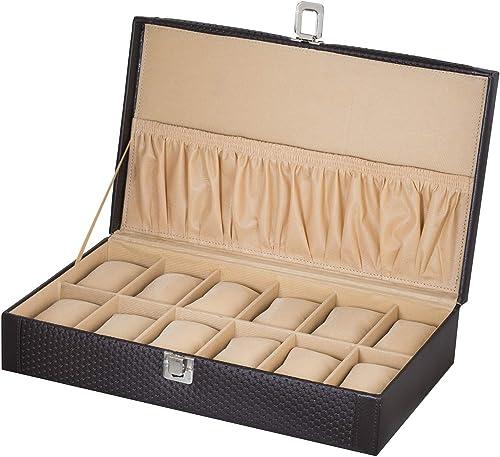 Valley PU Leather Watch Case 12 Slot/Wrist Watch Box/Watch Organizer/Watch Storage Box/Handmade Watch Box with 12 Sof...