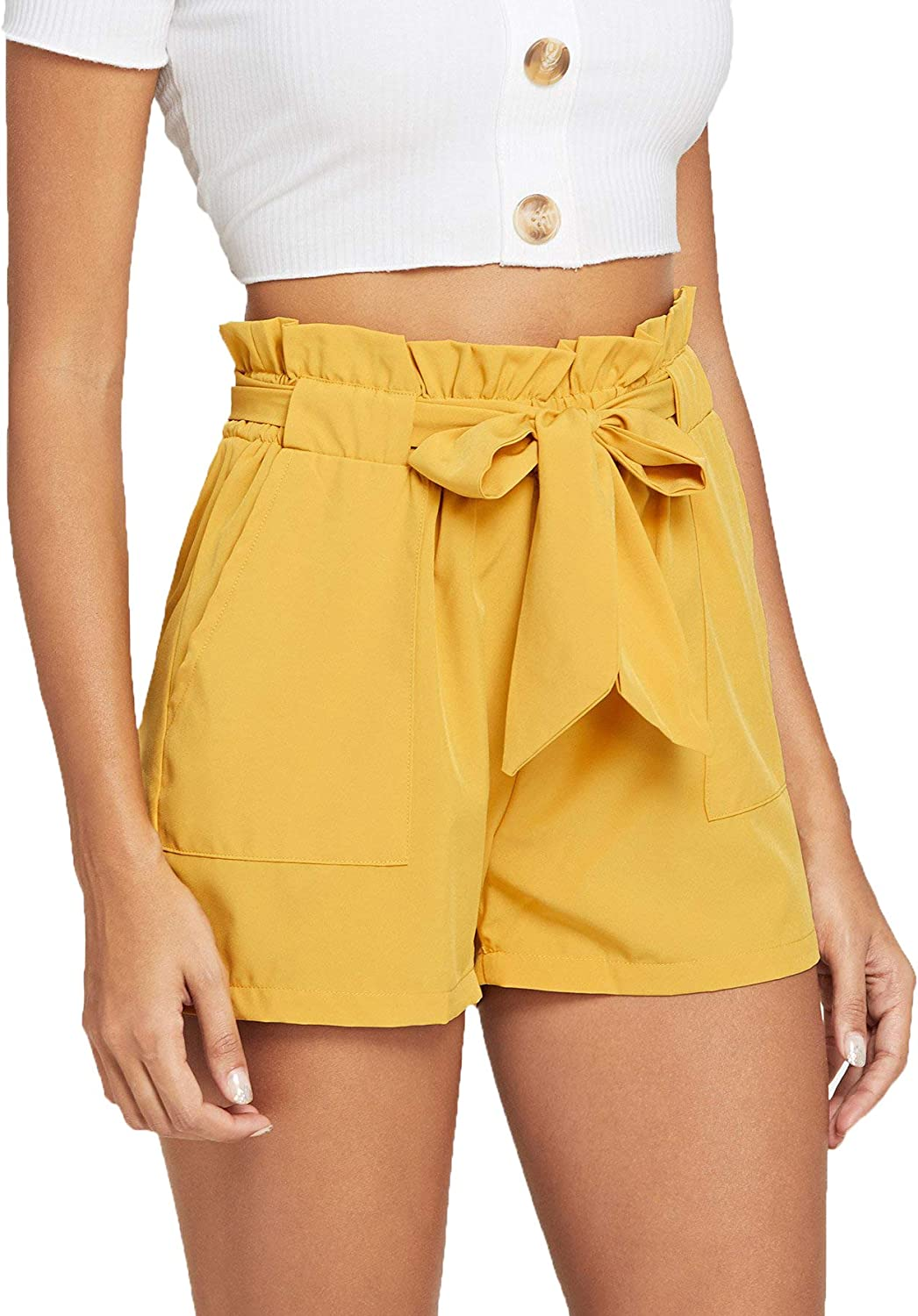 Romwe Women's Casual Elastic Waist Bowknot Summer Shorts Pockets