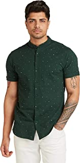 Iconic Men's 2300329 GEOMOE Knitted Regular Shirt, Green