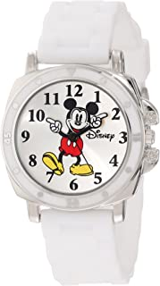 """Disney Kids' MK1103""""Mickey Mouse"""" Watch With White Rubber Band"""