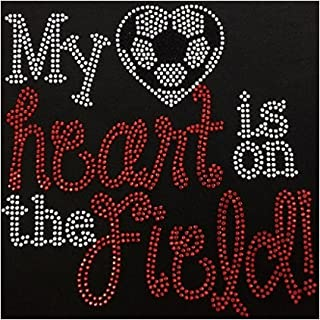 Rhinestone Blinged T Shirts Sports Mom My Heart is On That Field Soccer (Junior Fit Large, Black)