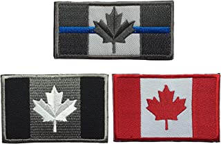 SpaceCar Flag of Canada Canadian National The Maple Leaf Tactical Morale Embroidery Hook & Loop Ensign Patches - Bundle 3 Pieces