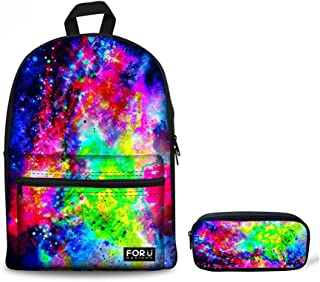LedBack 3D Galaxy Pencil Box for Boys Canvas Backpack for School Fashion Book Bag with Pencil Bag Children Teens Pen Holder Durable Polyester Stationery Pouch Bag Large Capacity School Bag