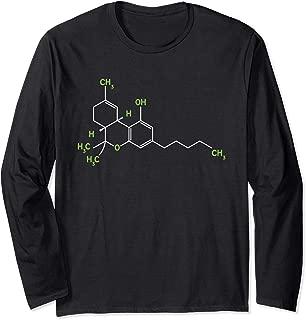 Cannabis 420 Weed Pot Molecule THC Marijuana Stoner Gift Long Sleeve T-Shirt