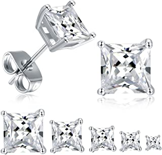 18K White Gold Plated Princess Cut Clear Cubic Zirconia Stud Earrings Pack of 5