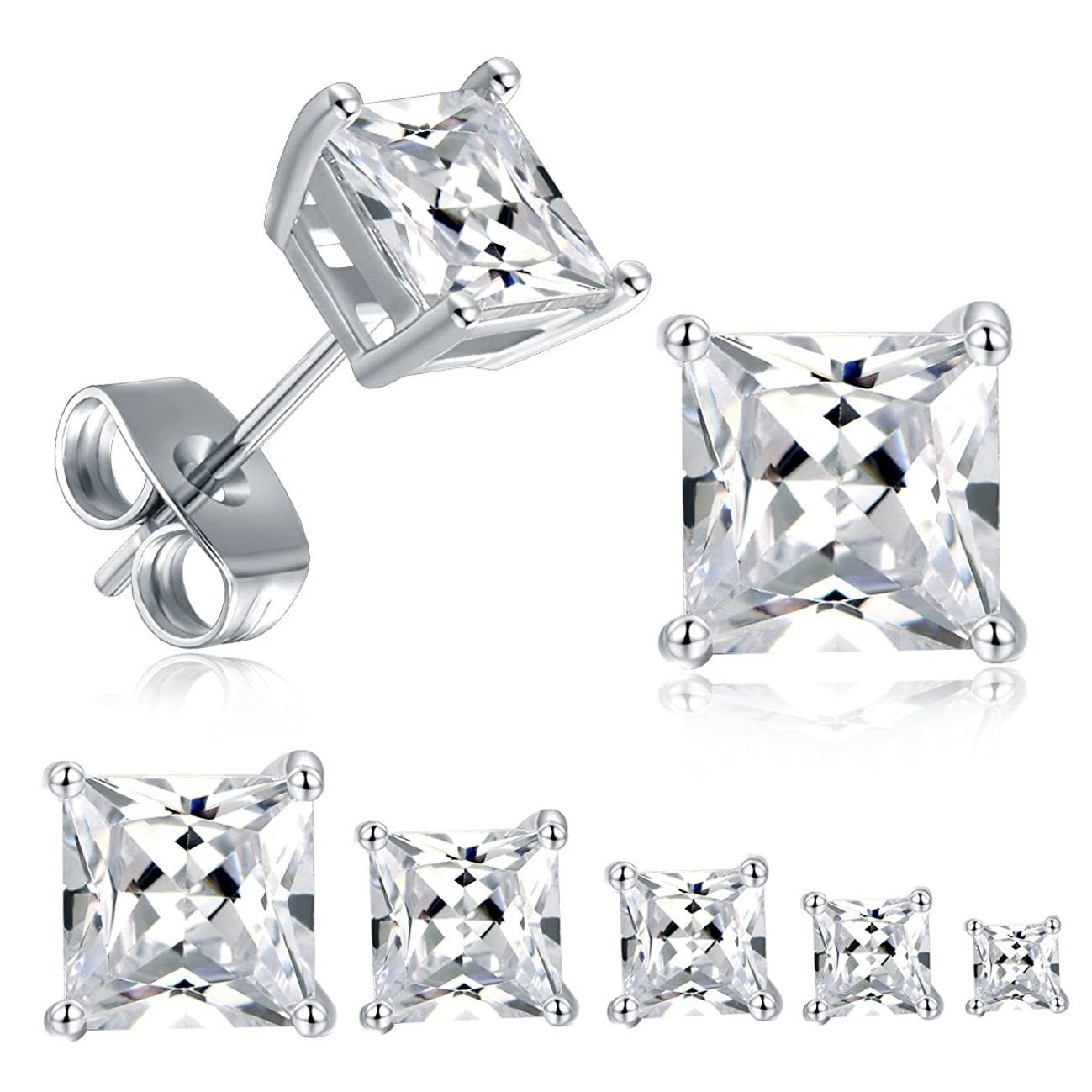 18K White Gold Plated Princess Cut Cubic Zirconia Stud Earrings Pack of 5