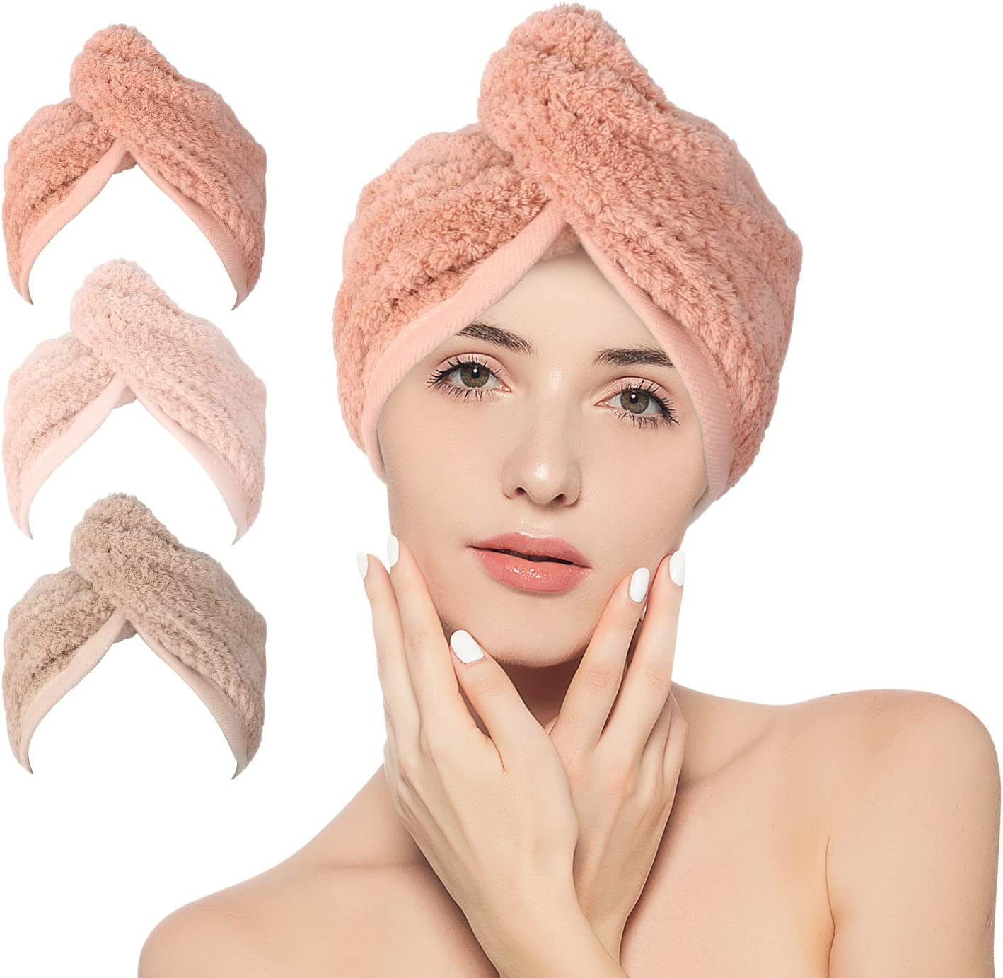 STELLAIRE CHERN 3 Pack Hair Wrap Towel Dry Latest Baltimore Mall item Microfiber Quick