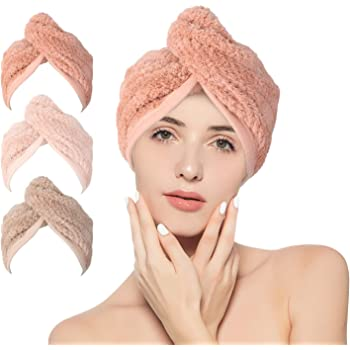 Stellaire Chern 3 Pack Hair Towel Wrap Microfiber Quick Hair Drying Towel for Women Super Absorbent Drying Hair Caps with Buttons Dry Hair Hat, Gray, Pink & White