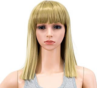 SWACC 14 Inches Short Straight Medium Shoulder Length Wig with Blunt Cut Bangs and Bottom End Synthetic Heat Resistant Hair Wigs for Women with Wig Cap (Dirty Blonde Highlights)