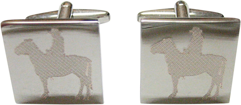 Kiola Designs Silver Toned Cowboy Etched Cufflinks Over item handling Time sale ☆