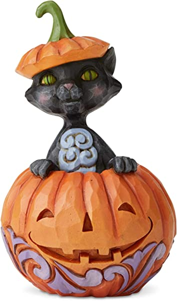 Enesco Jim Shore Heartwood Creek Cat In Pumpkin Mini