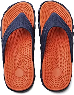 Men Flip Flops Summer Leightweight Beach Outdoor Mens Slippers Massage Portable Home Slippers Men Breathable Water Footwear Male (Color : E, Shoe Size : 11)