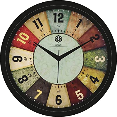 KK Craft Wall Clock for Home and Office, Designer Wall Clock for Living Room, Round Shape, with Glass, Durable Wall Clocks (Multi)