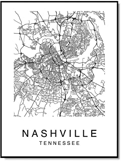 Nashville Map Wall Art Poster Print Tennessee USA City Map Street Black & White