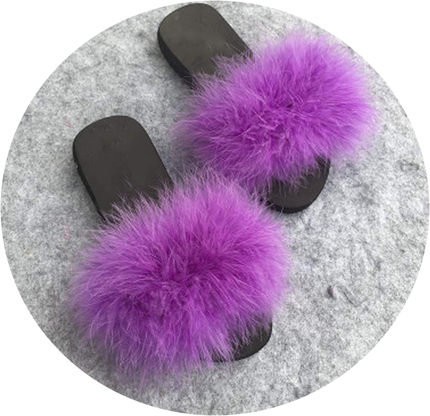 Just XiaoZhouZhou Summer Women's Ostrich Feather Slides Fluffy Faux Fur Slippers Flat Home Flip Flops Fuzzy Multiple color Sexy Party shoes