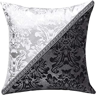 uxcell Throw Pillow Cover Cases for Couch Sofa Home Decoration Vintage Floral Pillow Case Cushion Cover, 18 x 18 Inches, Black Silver Contrast