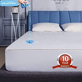 King Size Waterproof Mattress Protector, Cool-EX Temperature Control Mattress Cover, Hypoallergenic, Premium Breathable Durable & Vinyl Free Bed Cover 10-Year Warranty