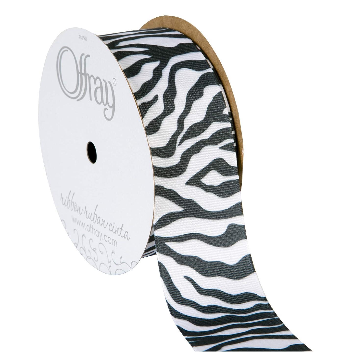 Offray 998809 Zebra Animal Print Grosgrain Craft Ribbon, 1-1/2-Inch Wide by 10-Yard Spool, Black/White