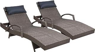 Gardeon Outdoor Lounge Set Wicker Rattan Chairs Garden Patio-Grey X 2