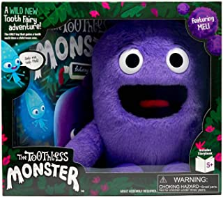 The Toothless Monster - The ONLY Toy That Magically Gains a Tooth with Each Tooth Fairy Visit - Boxed Set Includes Plush Monster, Hardcover Book, and Special Teeth for Monster - Meli (Purple) Version