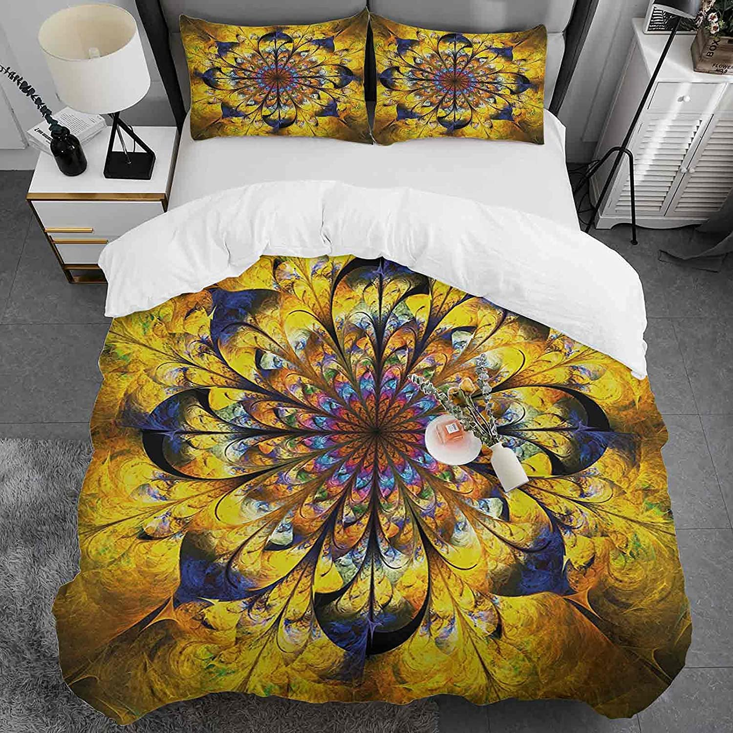 Popular overseas Yellow and Blue Cotton Duvet Cover Size Flora Golden 2021new shipping free Queen with