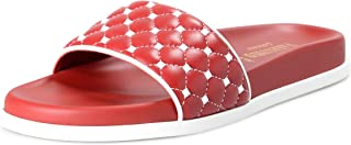 VALENTINO Women's Red Leather Rockstud Flip Flops Sandals Shoes Sz US 11 IT 41