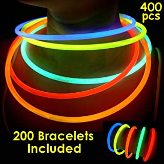 """200 Glow Sticks Bulk Wholesale Necklaces, 22"""" Glow Stick Necklaces+200 FREE Glow Bracelets! Bright Colors Glow 8-12 Hr, Connector Pre-attached(handy), Glow-in-the-dark Party Supplies, GlowWithUs Brand"""