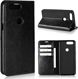 OnePlus 5T / 1+5T Case,iCoverCase Genuine Leather Wallet Case [Slim Fit] Folio Book Design with Stand and Card Slots Flip Case Cover for OnePlus 5T / 1+5T 6 inch(Black)